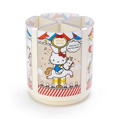小禮堂 Hello Kitty 圓形塑膠旋轉筆筒 四格可拆 收納筒 置物筒 小物收納 (白紅 木馬)