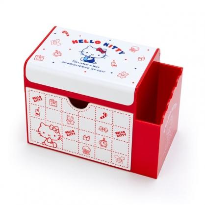 小禮堂 Hello Kitty 方形塑膠附鏡筆筒抽屜盒 收納盒 化妝鏡盒 小物收納 (白紅 格紋)
