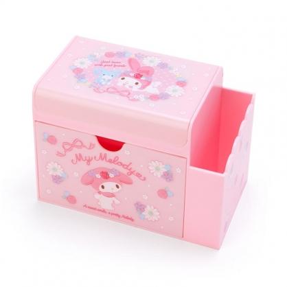 小禮堂 美樂蒂 方形塑膠附鏡筆筒抽屜盒 收納盒 化妝鏡盒 小物收納 (粉 花圈)