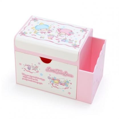 小禮堂 雙子星 方形塑膠附鏡筆筒抽屜盒 收納盒 化妝鏡盒 小物收納 (粉白 緞帶框)