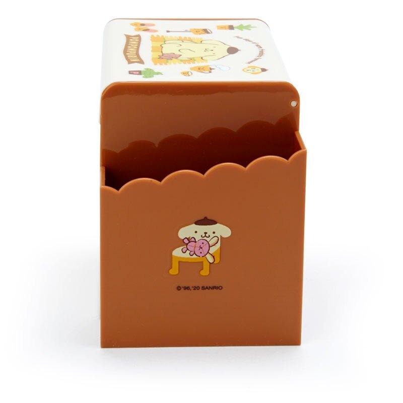 小禮堂 布丁狗 方形塑膠附鏡筆筒抽屜盒 收納盒 化妝鏡盒 小物收納 (黃棕 傢飾物)