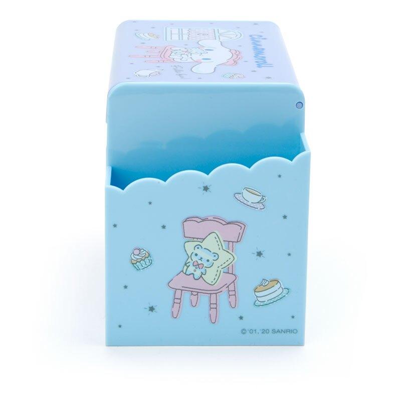 小禮堂 大耳狗 方形塑膠附鏡筆筒抽屜盒 收納盒 化妝鏡盒 小物收納 (淺藍 居家)