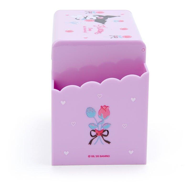 小禮堂 酷洛米 方形塑膠附鏡筆筒抽屜盒 收納盒 化妝鏡盒 小物收納 (紫 花束)