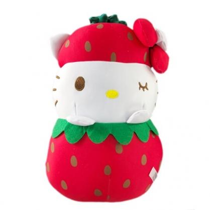 小禮堂 Hello Ktity 水果沙包玩偶 絨毛娃娃 沙包娃娃 布偶 (M 紅白 草莓)