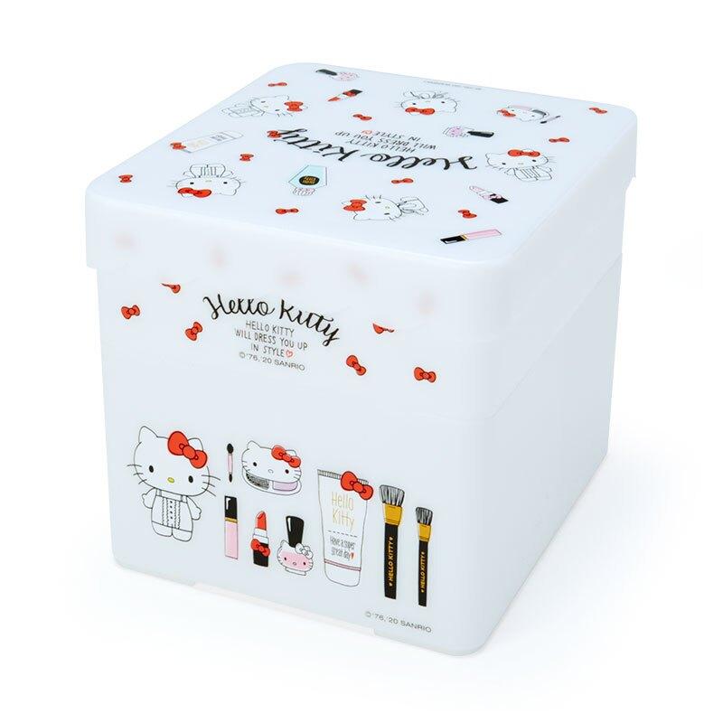 小禮堂 Hello Kitty 方形塑膠雙層收納盒 附托盤蓋  置物盤 小物收納 (白紅 化妝品)