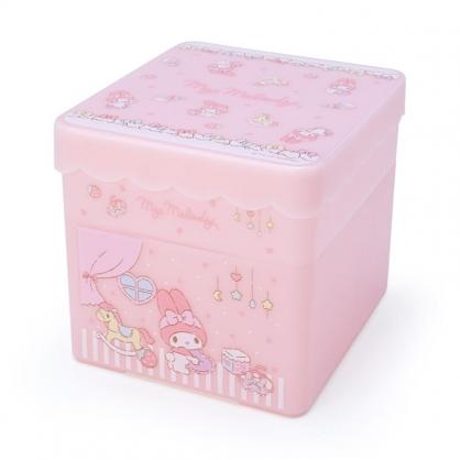 小禮堂 美樂蒂 方形塑膠雙層收納盒 附托盤蓋  置物盤 小物收納 (粉 玩具木馬)