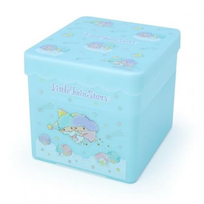 小禮堂 雙子星 方形塑膠雙層收納盒 附托盤蓋  置物盤 小物收納 (藍綠 房屋)