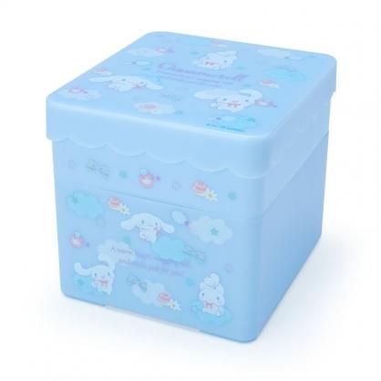 小禮堂 大耳狗 方形塑膠雙層收納盒 附托盤蓋  置物盤 小物收納 (淺藍 糖果雲)