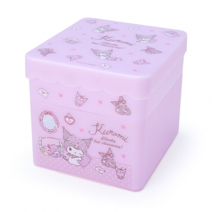 小禮堂 酷洛米 方形塑膠雙層收納盒 附托盤蓋  置物盤 小物收納 (紫 居家)