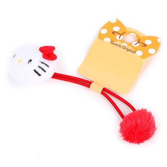 小禮堂 Hello Kitty 造型絨毛彈力髮圈 造型髮束 絨毛髮圈 (紅白 大臉)