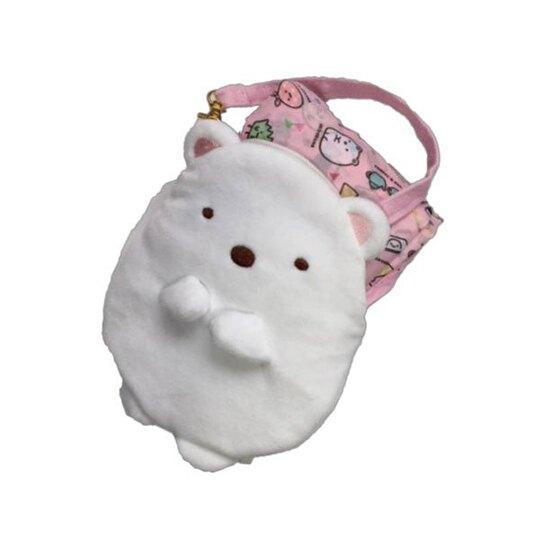 小禮堂 角落生物 北極熊 折疊尼龍環保購物袋 環保袋 側背袋 附絨毛收納包 (白)