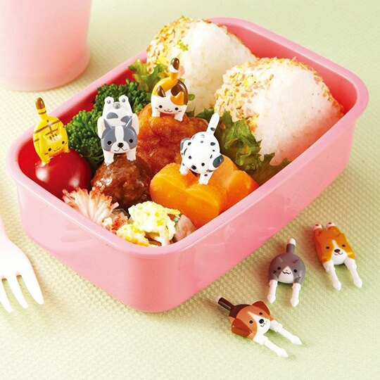 小禮堂 日本TORUNE 食物裝飾叉 水果叉 蛋糕叉 甜點叉 (7入 藍米 貓狗)