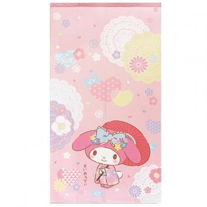 小禮堂 美樂蒂 日製 棉麻長門簾 窗簾 遮光簾 85x150cm (粉 和服撐傘)