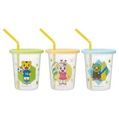 小禮堂 巧虎 日製 塑膠吸管杯 塑膠杯 飲料杯 派對杯 附蓋 320ml (3入 綠黃 足球)