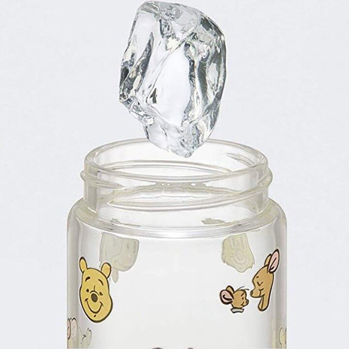 小禮堂 迪士尼 小熊維尼 迷你隨身玻璃瓶 冷水瓶 兒童水壺 250ml (黃蓋 滿版)
