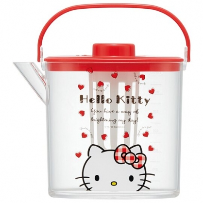 小禮堂 Hello Kitty 日製 手提透明冷水壺 耐熱水壺 飲料壺 1.2L (紅蓋)