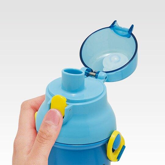 小禮堂 Sanrio大集合 日製 直飲式水壺附背帶 塑膠水瓶 兒童水壺 480ml (藍 車車)