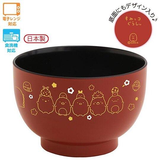 小禮堂 角落生物 日製 可微波塑膠碗 微波碗 茶碗 飯碗 (暗紅  牽手)