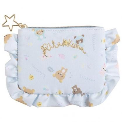 小禮堂 懶懶熊 花邊尼龍面紙零錢包 小物收納包 隨身收納包 面紙包 (淡藍 恐龍裝)