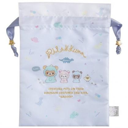 小禮堂 懶懶熊 緞面束口袋 旅行收納袋 小物收納袋 (淡藍 恐龍裝)