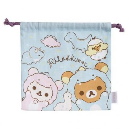 小禮堂 懶懶熊 日製 棉質束口袋 旅行收納袋 小物收納袋 (藍 恐龍裝)