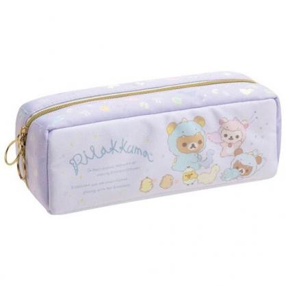 小禮堂 懶懶熊 磁吸尼龍拉鍊筆袋 磁吸筆盒 鉛筆盒 鉛筆袋 (紫 恐龍裝)