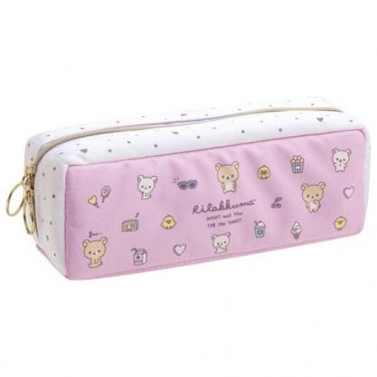 小禮堂 懶懶熊 磁吸尼龍拉鍊筆袋 磁吸筆盒 鉛筆盒 鉛筆袋 (粉 滿版)