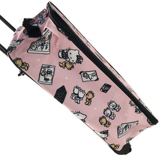 小禮堂 Hello Kitty 輕型尼龍折疊拉桿購物車 購物推車 行李箱 旅行箱 (粉黑 小熊)