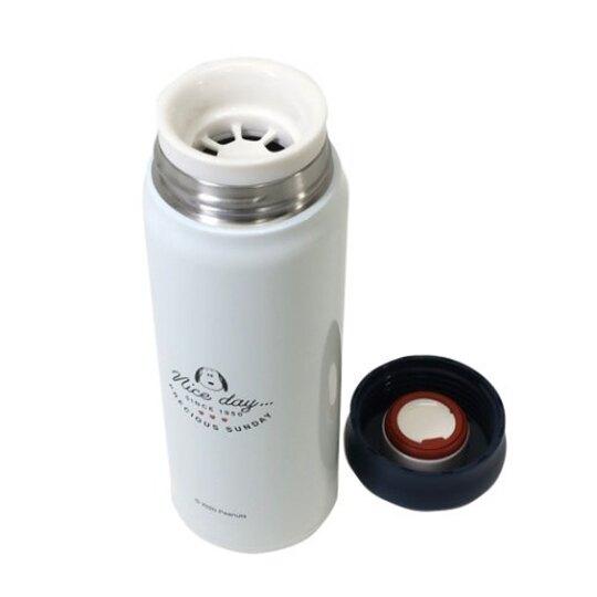 小禮堂 史努比 旋轉蓋不鏽鋼保溫瓶 兒童水壺 隨身瓶 480ml (米藍 三隻)