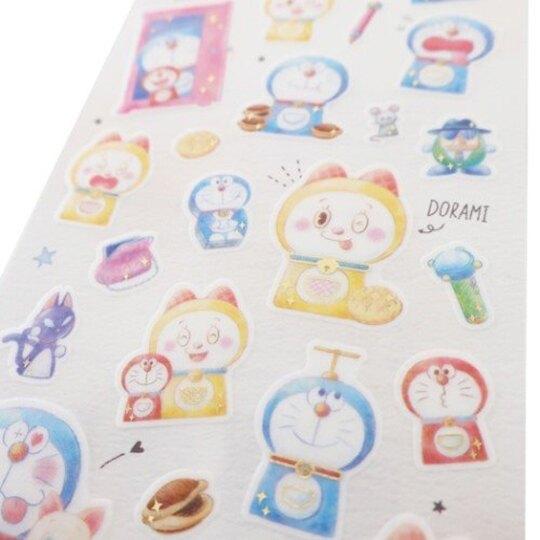 小禮堂 哆啦A夢 日製 造型透明貼紙 燙金貼紙 手帳貼紙 (藍黃 人偶)