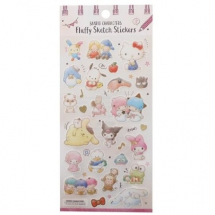 小禮堂 Sanrio大集合 日製 造型透明貼紙 燙金貼紙 手帳貼紙 (粉米 星星)