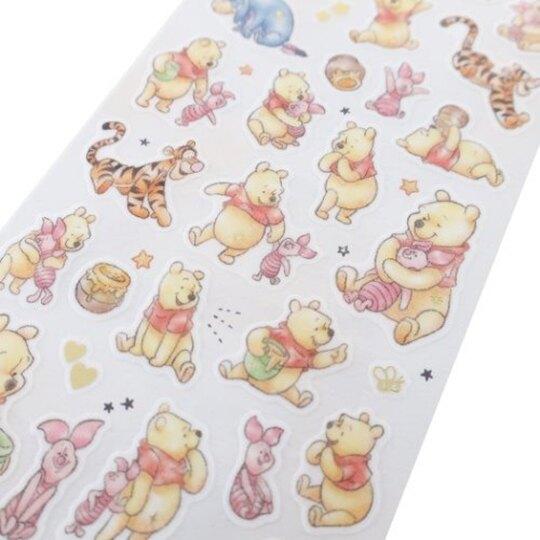 小禮堂 迪士尼 小熊維尼 日製 造型透明貼紙 燙金貼紙 手帳貼紙 (黃米 抱抱)