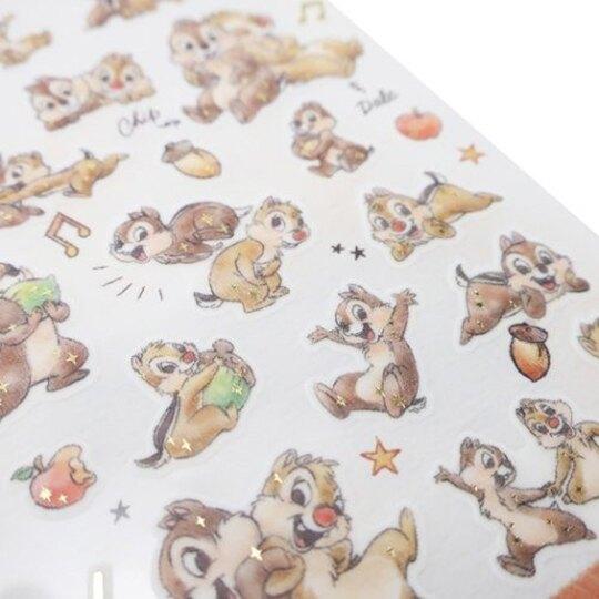 小禮堂 迪士尼 奇奇蒂蒂 日製 造型透明貼紙 燙金貼紙 手帳貼紙 (棕 抱抱)