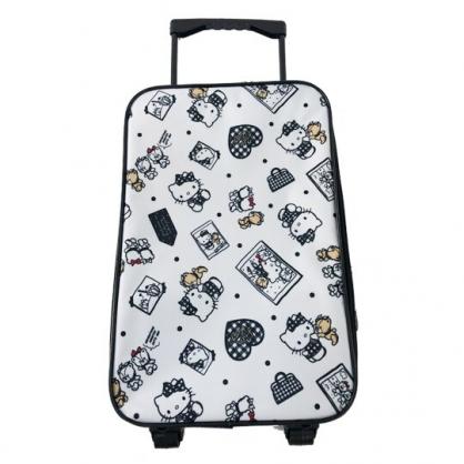 小禮堂 Hello Kitty 輕型尼龍折疊拉桿購物車 購物推車 行李箱 旅行箱 (白黑 小熊)