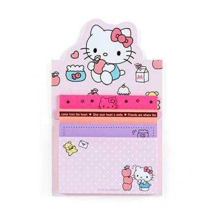 小禮堂 Hello Kitty 日製 自黏便利貼 N次貼 自黏便箋 便條紙 備忘錄 (粉 拿蘋果)