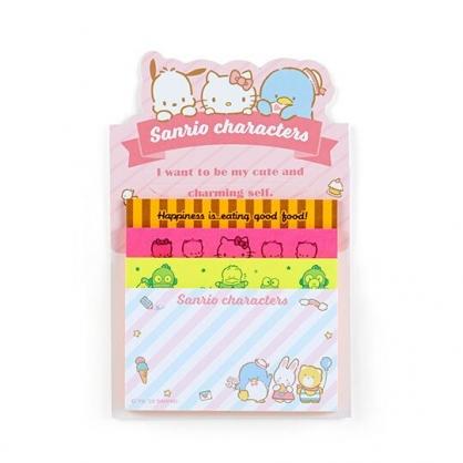 小禮堂 Sanrio大集合 日製 自黏便利貼 N次貼 自黏便箋 便條紙 備忘錄 (粉 文字)