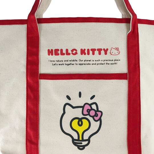 小禮堂 Hello Kitty 橫式帆布側背袋 帆布手提袋 書袋 帆布袋 (米紅 燈泡臉)