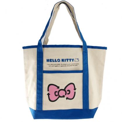 小禮堂 Hello Kitty 橫式帆布側背袋 帆布手提袋 書袋 帆布袋 (米藍 蝴蝶結)