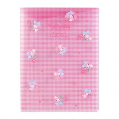 小禮堂 美樂蒂 A4資料本資料夾 透明文件袋 檔案夾 文件夾 (粉 格紋)