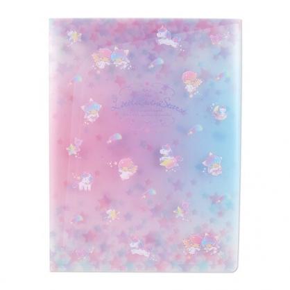小禮堂 雙子星 A4資料本資料夾 透明文件袋 檔案夾 文件夾 (藍紫 星星)