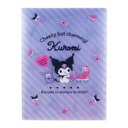 小禮堂 酷洛米 A4資料本資料夾 透明文件袋 檔案夾 文件夾 (紫 斜紋)