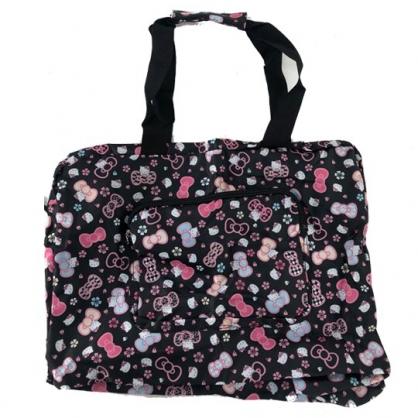 小禮堂 Hello Kitty 折疊尼龍拉桿行李袋 旅行袋 側背行李袋 葉朗彩彩 (黑 櫻花))