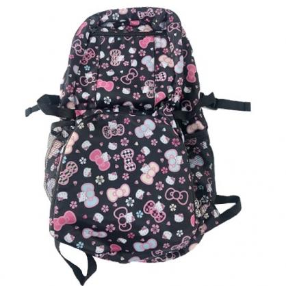 小禮堂 Hello Kitty 折疊尼龍後背包 旅行背包 環保後背包 葉朗彩彩 (黑 櫻花)