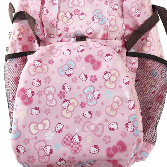 小禮堂 Hello Kitty 折疊尼龍後背包 旅行背包 環保後背包 葉朗彩彩 (粉 櫻花)