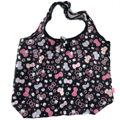小禮堂 Hello Kitty 折疊尼龍環保購物袋 環保袋 側背袋 葉朗彩彩 (黑 櫻花)