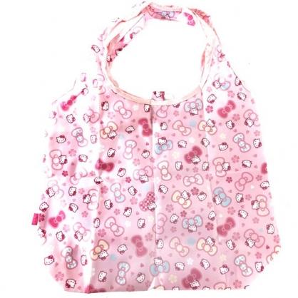 小禮堂 Hello Kitty 折疊尼龍環保購物袋 環保袋 側背袋 葉朗彩彩 (粉 櫻花)