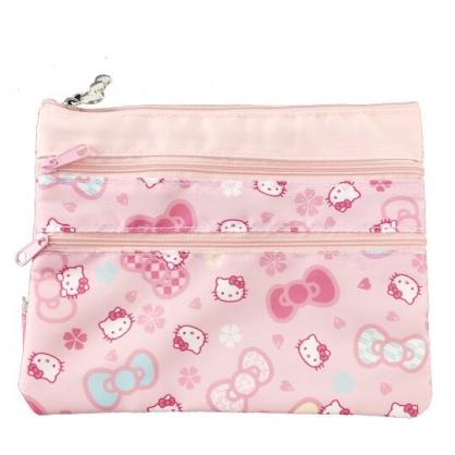 小禮堂 Hello Kitty 方形尼龍三層扁平收納包 文具袋 小物收納袋 葉朗彩彩 (粉 櫻花)