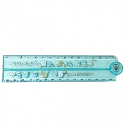 小禮堂 角落生物 塑膠角度折疊尺 量角尺 透明尺 塑膠尺 30cm (綠 貝殼)