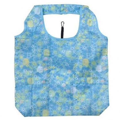 小禮堂 角落生物 折疊尼龍環保購物袋 環保袋 側背袋 (藍 花朵滿版)