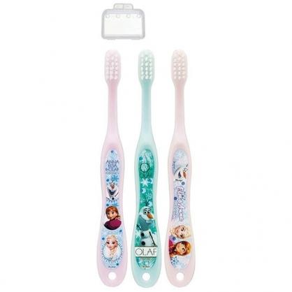 小禮堂 迪士尼 冰雪奇緣 兒童牙刷組 附牙刷蓋 學童牙刷 3-5歲適用 (3入 粉綠 大臉)